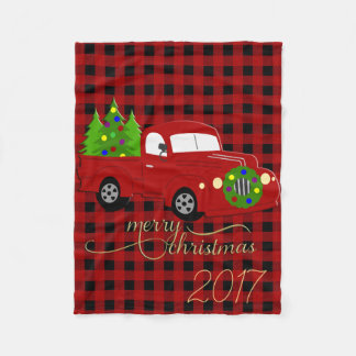 Plaid Christmas Truck and Tree Blanket