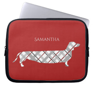Plaid Dachshund on Red Laptop Sleeve