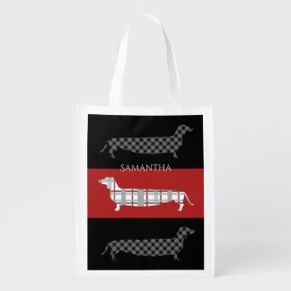 Plaid Dachshunds on Red and Black