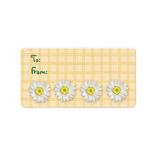 Plaid Daisies Yellow Address Label