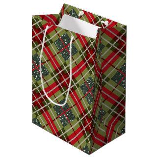 Plaid Deer Antler Green Glitter Medium Gift Bag