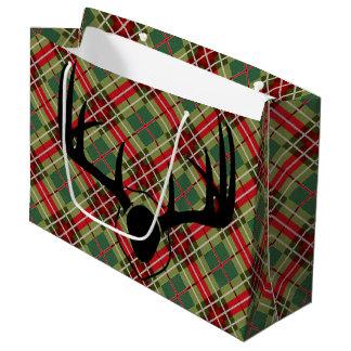 Plaid Deer Antler Large Gift Bag