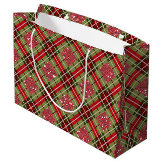 Plaid Deer Antler Red Sparkle Large Gift Bag