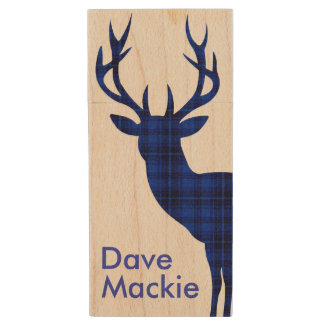 Plaid Deer | blue Wood USB 2.0 Flash Drive