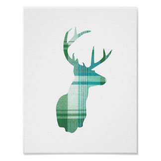 Plaid Deer Poster - Green Blue Nursery