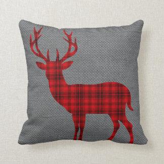 Plaid Deer Silhouette on Burlap | red Cushions