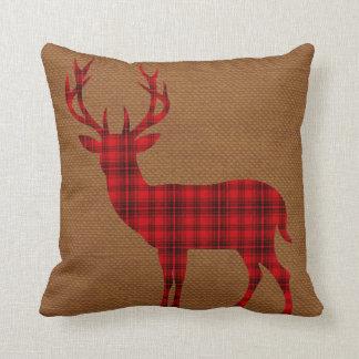 Plaid Deer Silhouette on Burlap   red tan Cushion