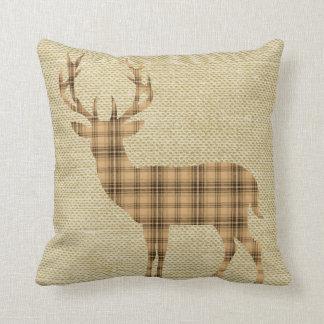 Plaid Deer Silhouette on Burlap   tan beige Cushion