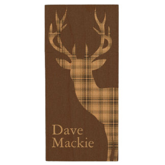 Plaid Deer | tan brown Wood USB 2.0 Flash Drive