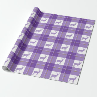 Plaid deer wrapping paper