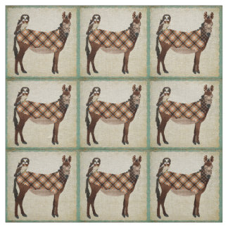 Plaid Donkey & Owl Fabric