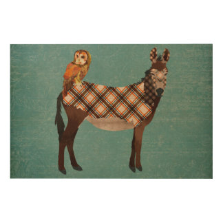 Plaid Donkey & Owl Wooden Canvas Wood Canvases