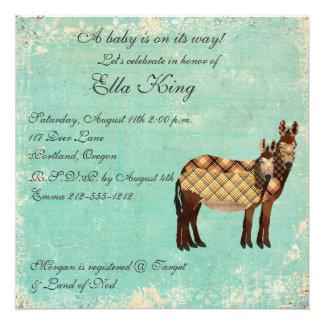 Plaid Donkeys Baby Invitation
