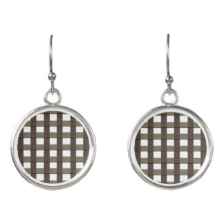 Plaid Earrings- Faux Burplap Plum & White Design Earrings
