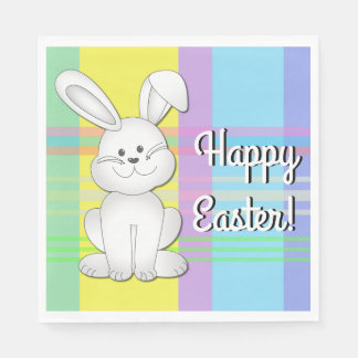Plaid Easter Bunny Paper Napkins