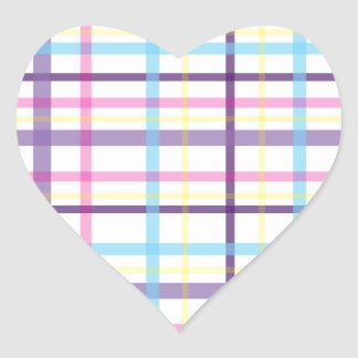Plaid Easter Colors Heart Stickers