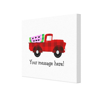Plaid Farm truck Hauling Giant Watermelon Slice Canvas Print