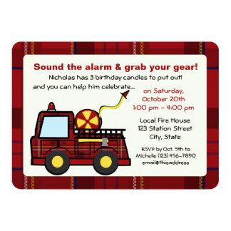 Plaid Fire Truck Birthday Card