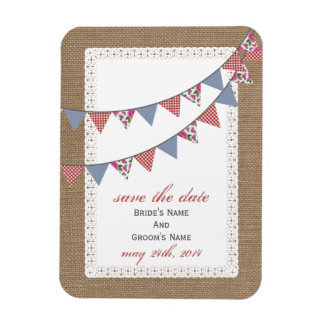 Plaid Floral Bunting Burlap Inspired Save The Date Rectangular Photo Magnet