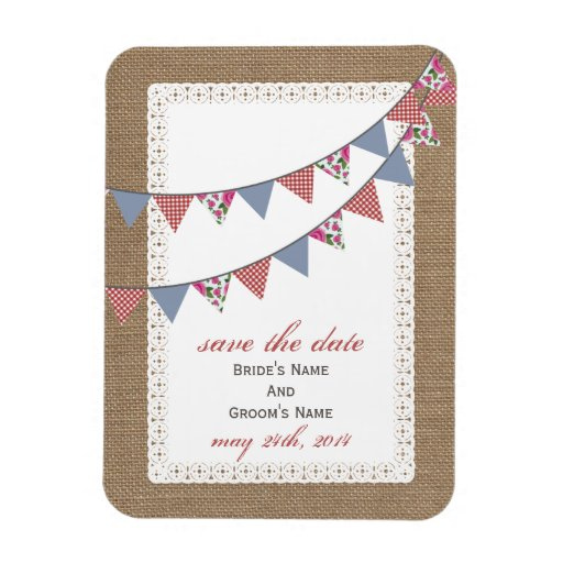 Plaid Floral Bunting Burlap Inspired Save The Date Flexible Magnet