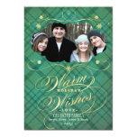 "Plaid Flourish Calligraphy Warm Wishes Photo Card 5"" X 7"" Invitation Card"