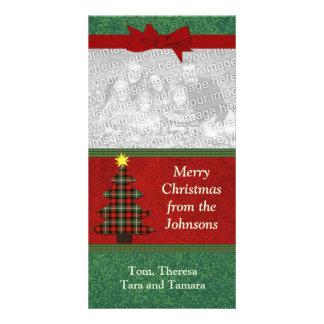 Plaid Folk Art Christmas Tree Custom Custom Photo Card
