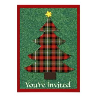"""""""Plaid Folk Art Christmas Tree"""" Custom Invite"""