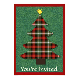 """Plaid Folk Art Christmas Tree"" 5"" X 7"" Invitation Card"