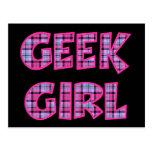 Plaid Geek Girl Design Post Card