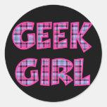 Plaid Geek Girl Design Round Sticker