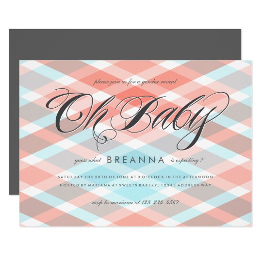 Plaid Gender Reveal Party Baby Shower Card