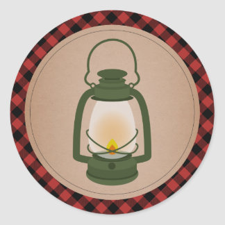 Plaid Green Camping Lantern Classic Round Sticker