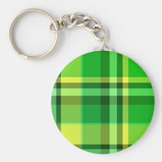 Plaid Green Yellow Basic Round Button Key Ring