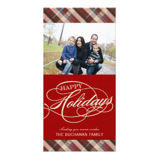 Plaid Happy Holidays Photo Cards