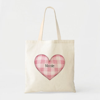 Plaid Heart 3D with Name Tote Bag