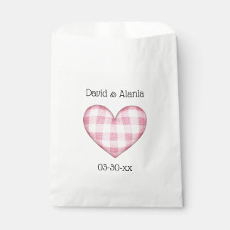 Plaid Heart 3D with Names and Date Favour Bags
