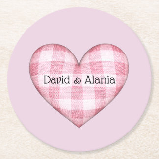 Plaid Heart 3D with names Round Paper Coaster