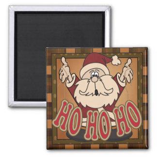 Plaid Ho Ho Ho Holiday Santa Claus Gift Square Magnet