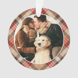 Plaid Holiday Photo Ornament