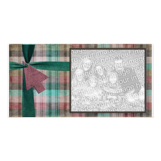 Plaid Holiday Photo Template Photo Greeting Card