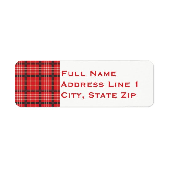 Plaid Holiday Return Address Label