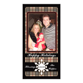 Plaid Holiday Traditions Customised Photo Card