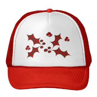 Plaid Holly Christmas Shape Cap
