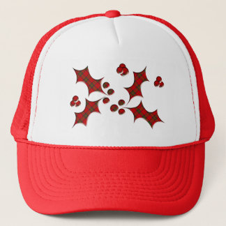 Plaid Holly Christmas Shape Trucker Hat