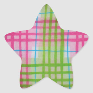 Plaid Hot Easter Colors Star Stickers