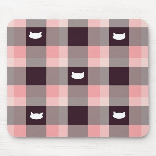 Plaid kitty mouse mat