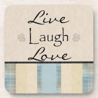 Plaid Live Laugh Love Coaster