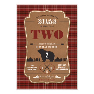 Plaid Lumberjack Birthday Party Invitations