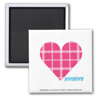 Plaid Magenta 2 Square Magnet