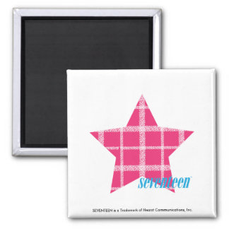 Plaid Magenta 3 Square Magnet